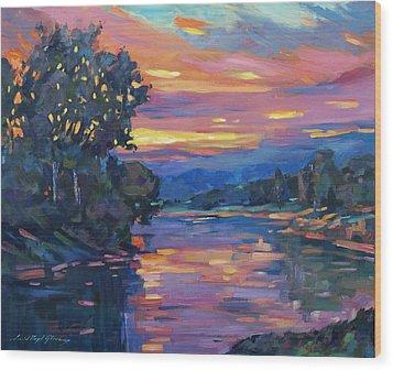 Dusk River Wood Print by David Lloyd Glover