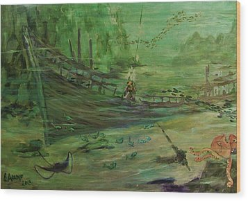 Wood Print featuring the painting  El  Explorador  1 by Beth Arroyo