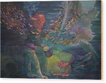Wood Print featuring the painting  El Explorador  2 by Beth Arroyo