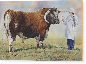 English Longhorn Bull Wood Print by Anthony Forster