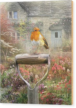 Wood Print featuring the digital art  English Robin by Trudi Simmonds