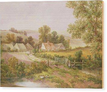 Farmyard Scene Wood Print by C L Boes