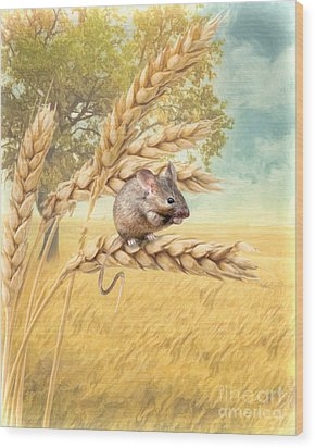 Wood Print featuring the digital art  Field Mouse by Trudi Simmonds