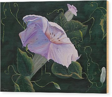 Wood Print featuring the painting  First  Trumpet Flower  Of Summer by Sharon Duguay