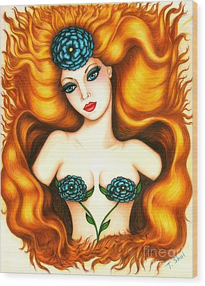 Flower In The Blaze Wood Print