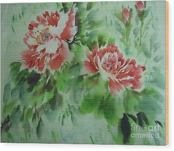 Wood Print featuring the painting  Flower0728-5 by Dongling Sun