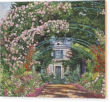 Flowering Arbor Giverny Wood Print by David Lloyd Glover