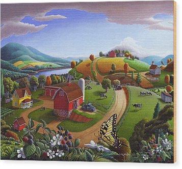 Folk Art Blackberry Patch Rural Country Farm Landscape Painting - Blackberries Rustic Americana Wood Print by Walt Curlee