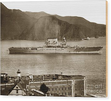 U.s.s. Lexington Cv-2 Fort Point Golden Gate San Francisco Bay California 1928 Wood Print