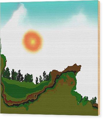 Fractal Landscape Wood Print by GuoJun Pan