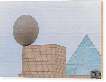 Gehrys Sphere Sculpture  Barcelona Spain  Wood Print by Marek Poplawski