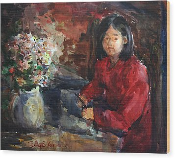 Girl In Red Dress Wood Print by Becky Kim