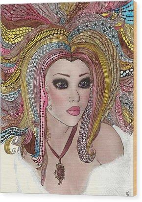 Girl With The Rainbow Hair Wood Print