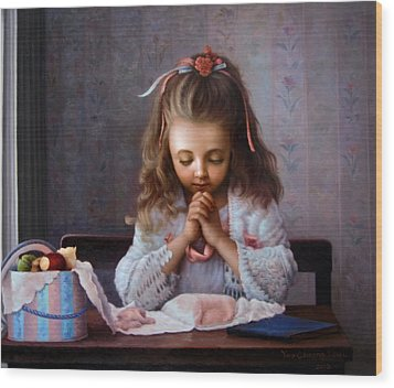 Girl's Prayer Wood Print