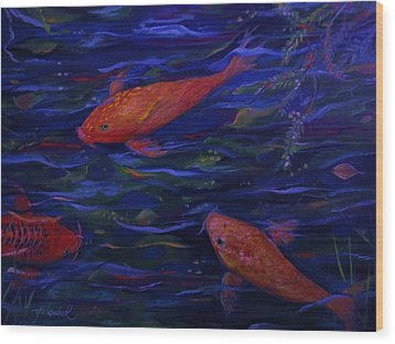 Wood Print featuring the painting  Golden Fish Koi by Yolanda Rodriguez