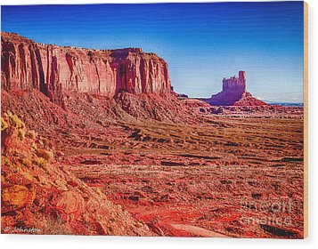 Golden Hour Sunrise In Monument Valley Wood Print by Bob and Nadine Johnston