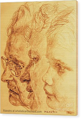 Have Your 3 Generations Drawn Or Painted Wood Print by PainterArtistFINs Husband MAESTRO