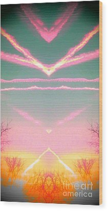 Wood Print featuring the photograph  Heavenly  Contrails  by Karen Newell