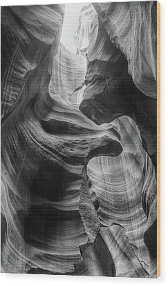 Heavenly Light - Black And White Wood Print