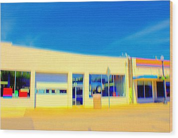 Wood Print featuring the mixed media   Hopper Garage by Terence Morrissey