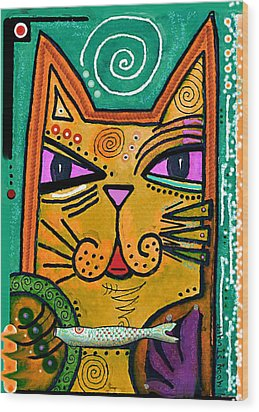 House Of Cats Series - Fish Wood Print by Moon Stumpp
