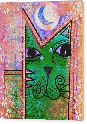 House Of Cats Series - Moon Cat Wood Print by Moon Stumpp