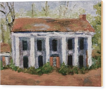 House On The Hill Wood Print by Marie Hamby
