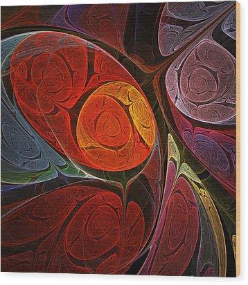 Hypnotic Flower Wood Print by Anastasiya Malakhova