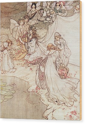 Illustration For A Fairy Tale Fairy Queen Covering A Child With Blossom Wood Print by Arthur Rackham