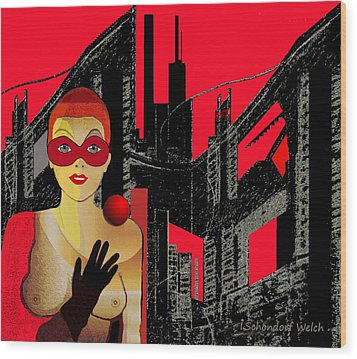 014 - In  Red   City Darkness Wood Print