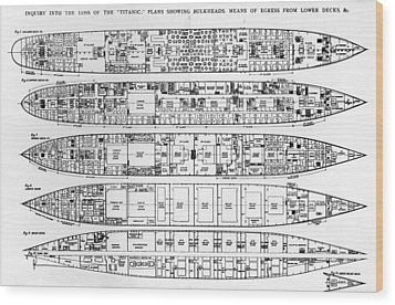 Inquiry In The Loss Of The Titanic Cross Sections Of The Ship  Wood Print by English School