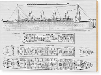 Inquiry Into The Loss Of The Titanic Cross Sections Of The Ship  Wood Print by English School