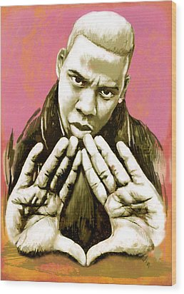 Jay-z Art Sketch Poster Wood Print by Kim Wang