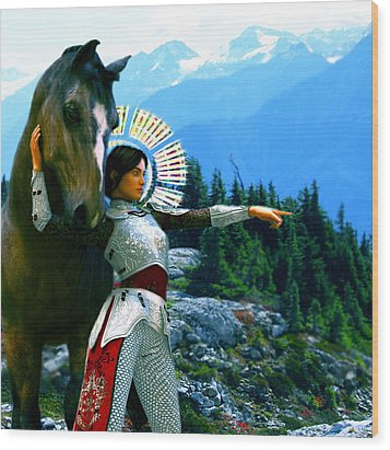 Wood Print featuring the painting  Joan Of Arc Visionary by Suzanne Silvir