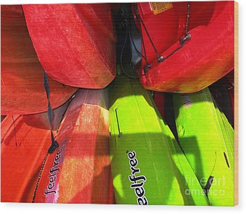 Kayaks Wood Print by Michelle Meenawong