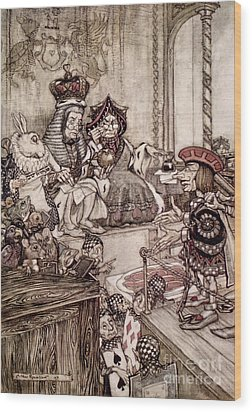 Knave Before The King And Queen Of Hearts Illustration To Alice S Adventures In Wonderland Wood Print by Arthur Rackham