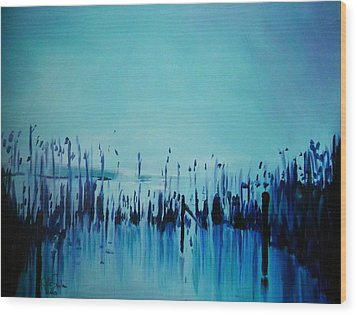 Lake With Reeds In Blue Wood Print by Jolanta Shiloni