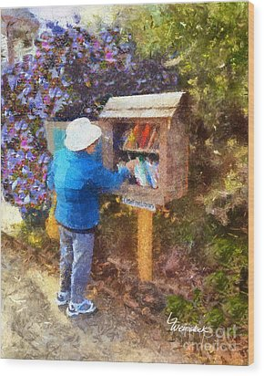 Wood Print featuring the painting  Alameda  Little Free Library by Linda Weinstock