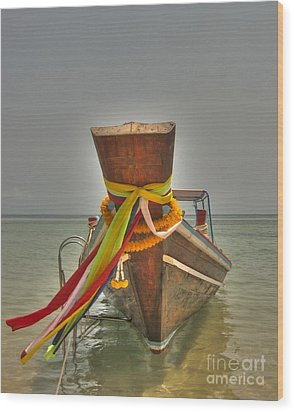 Wood Print featuring the photograph  Long Tail Boat by Michelle Meenawong