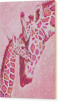Loving Pink Giraffes Wood Print by Jane Schnetlage