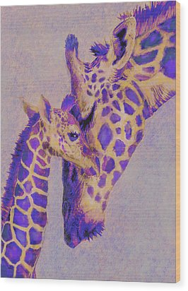 Loving Purple Giraffes Wood Print