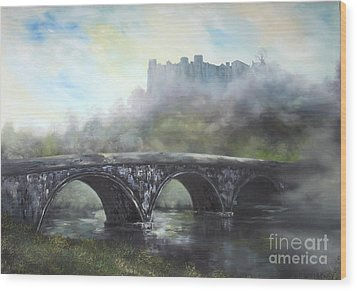 Wood Print featuring the painting  Ludlow Castle In A Mist by Jean Walker