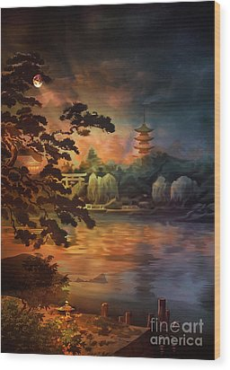 Magic Of Japanese Gardens. Wood Print by Andrzej Szczerski