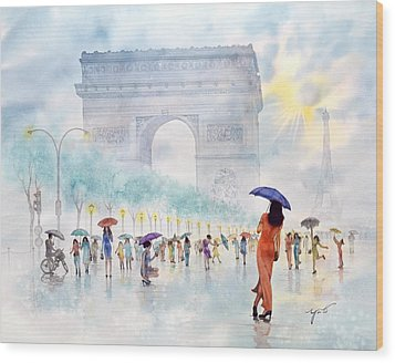 Memory Of Paris France Wood Print by John YATO