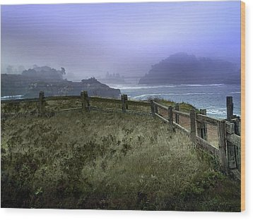 Mendocino Cliff Side Foggy Day   Wood Print by Judy  Johnson