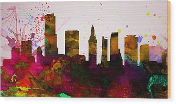 Miami City Skyline Wood Print by Naxart Studio