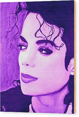 Wood Print featuring the painting  Michael Jackson In Purple by Bob Baker