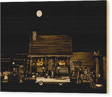 Miniature Log Cabin Scene With The Classic Old Vintage 1959 Dodge Royal Convertible In Sepia Color Wood Print by Leslie Crotty