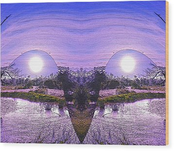 Mirrored Ego Wood Print by Yolanda Raker
