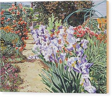 Monet's Garden Walk Wood Print by David Lloyd Glover
